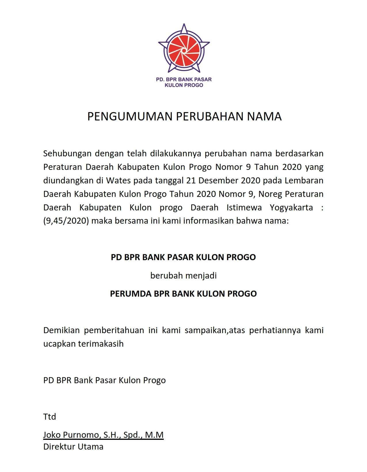 PENGUMUMAN PERUBAHAN NAMA BANK_001